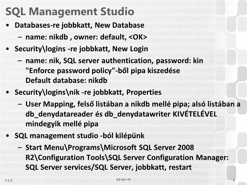 SQL Management Studio Databases-re jobbkatt, New Database