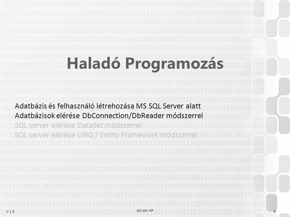 Haladó Programozás Adatbázis és felhasználó létrehozása MS SQL Server alatt. Adatbázisok elérése DbConnection/DbReader módszerrel.