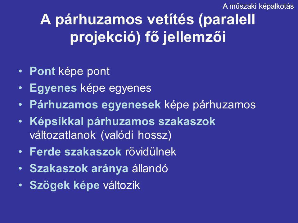 A párhuzamos vetítés (paralell projekció) fő jellemzői