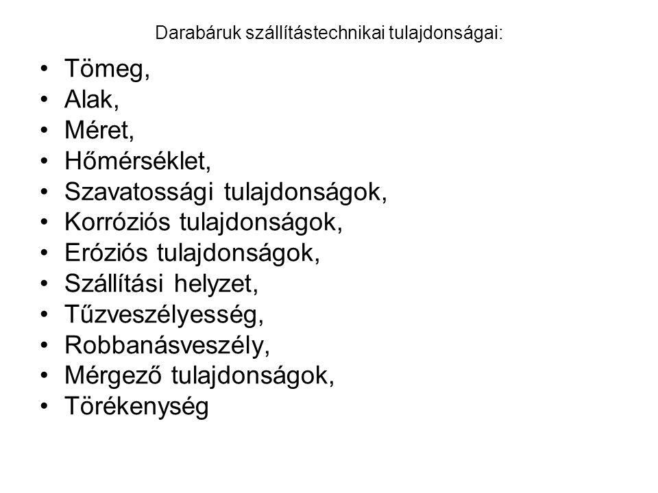 Darabáruk szállítástechnikai tulajdonságai: