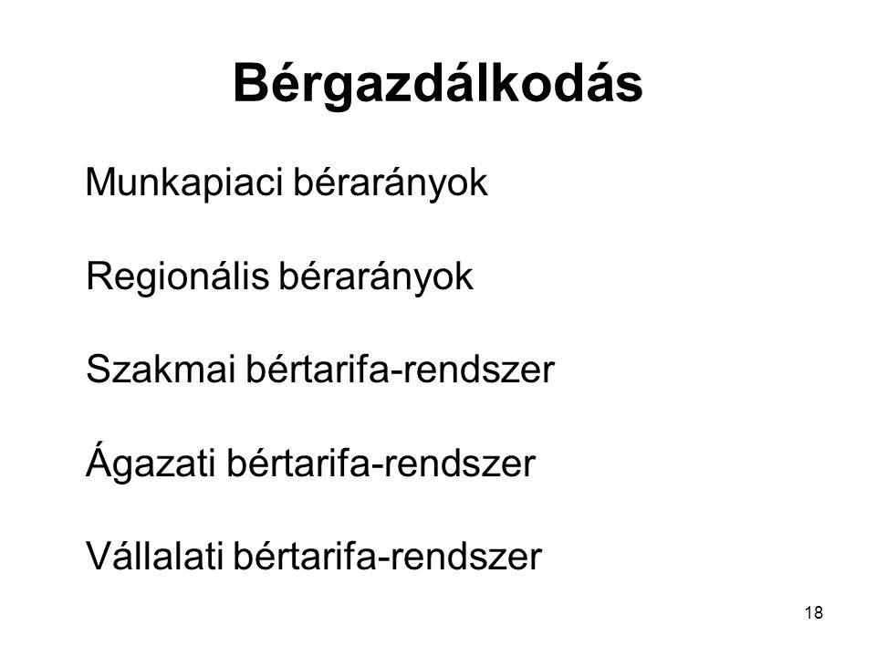 Bérgazdálkodás Munkapiaci bérarányok Regionális bérarányok Szakmai bértarifa-rendszer Ágazati bértarifa-rendszer Vállalati bértarifa-rendszer.