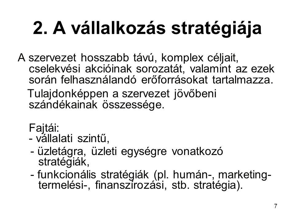 2. A vállalkozás stratégiája