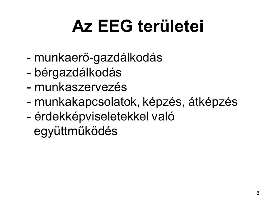 Az EEG területei