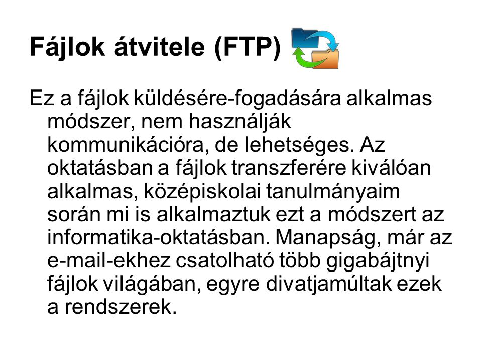 Fájlok átvitele (FTP)