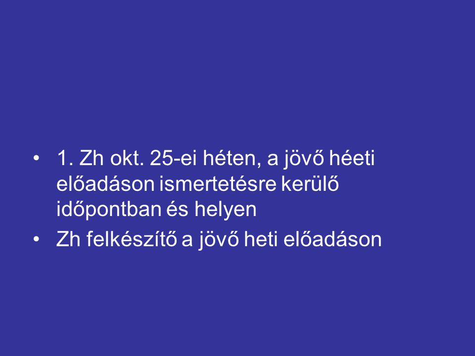 1. Zh okt. 25-ei héten, a jövő héeti előadáson ismertetésre kerülő időpontban és helyen