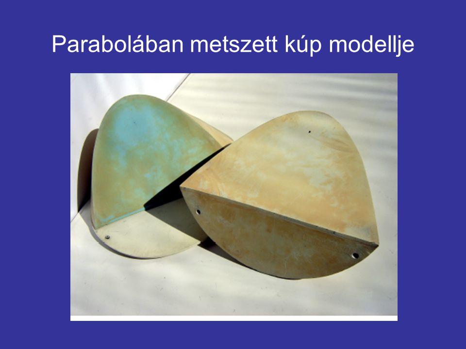 Parabolában metszett kúp modellje