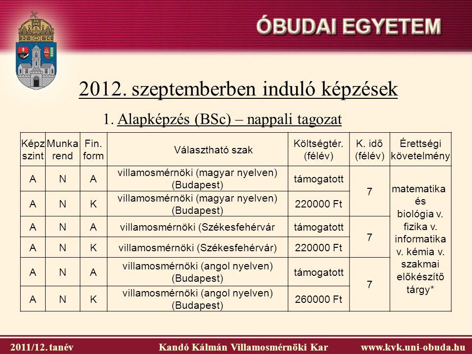 2012. szeptemberben induló képzések