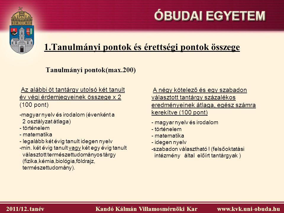 1.Tanulmányi pontok és érettségi pontok összege