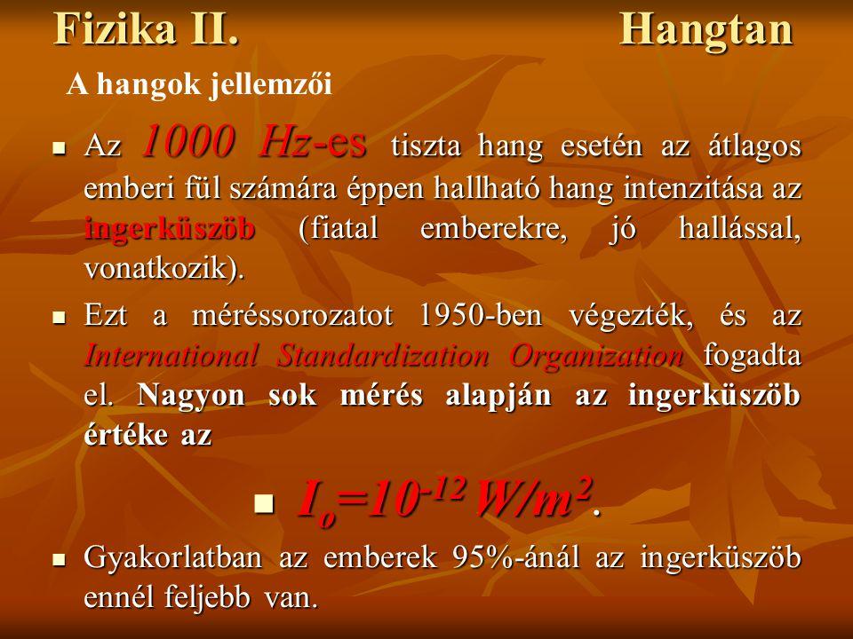 Io=10-12 W/m2. Fizika II. Hangtan A hangok jellemzői