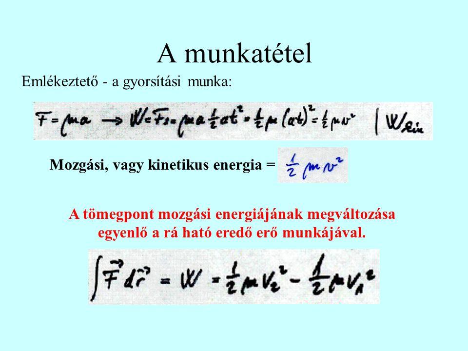 Mozgási, vagy kinetikus energia =