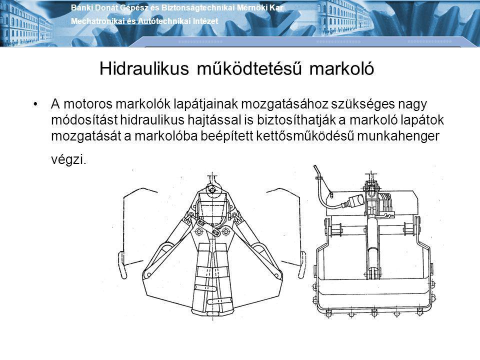 Hidraulikus működtetésű markoló