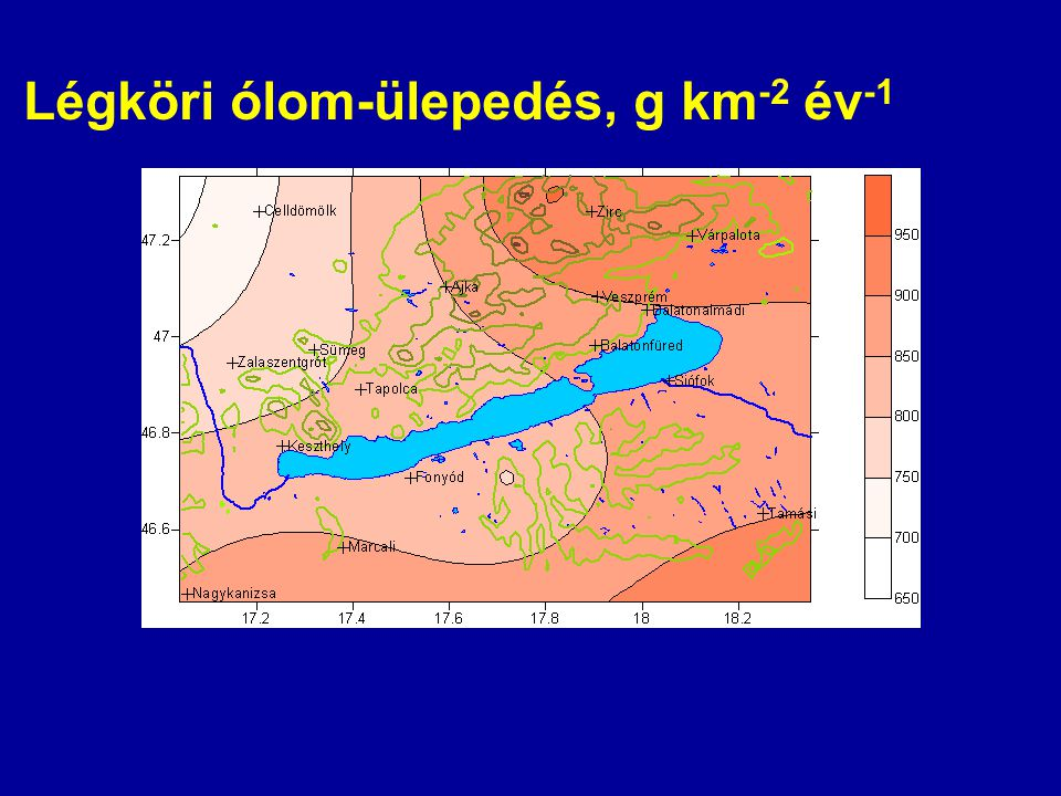 Légköri ólom-ülepedés, g km-2 év-1