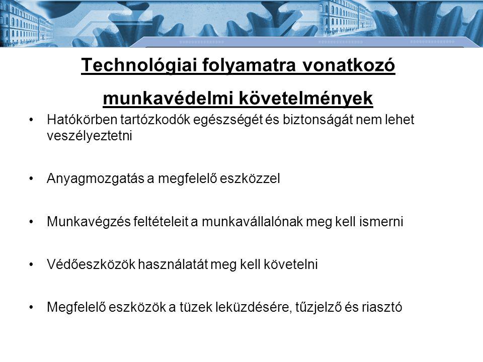 Technológiai folyamatra vonatkozó munkavédelmi követelmények