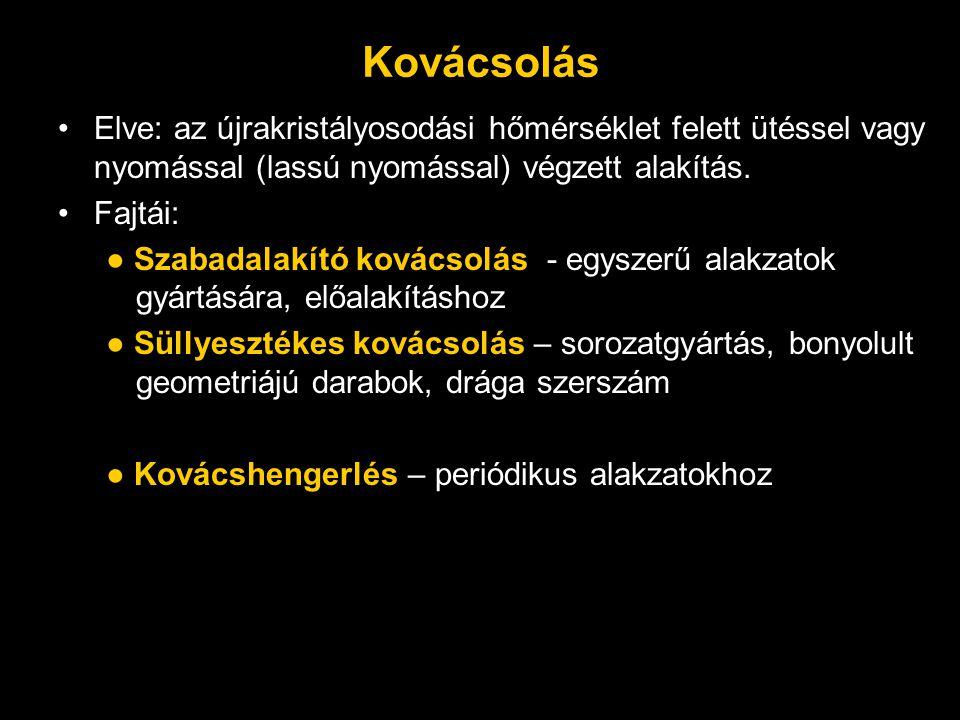 Kovácsolás Elve: az újrakristályosodási hőmérséklet felett ütéssel vagy nyomással (lassú nyomással) végzett alakítás.