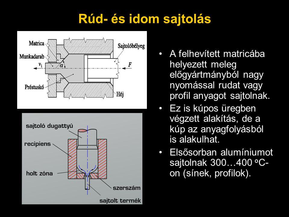 Rúd- és idom sajtolás A felhevített matricába helyezett meleg előgyártmányból nagy nyomással rudat vagy profil anyagot sajtolnak.