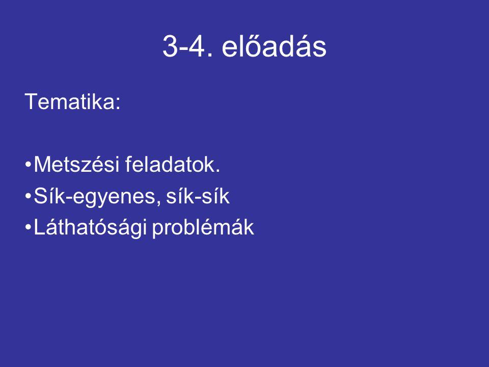 3-4. előadás Tematika: Metszési feladatok. Sík-egyenes, sík-sík