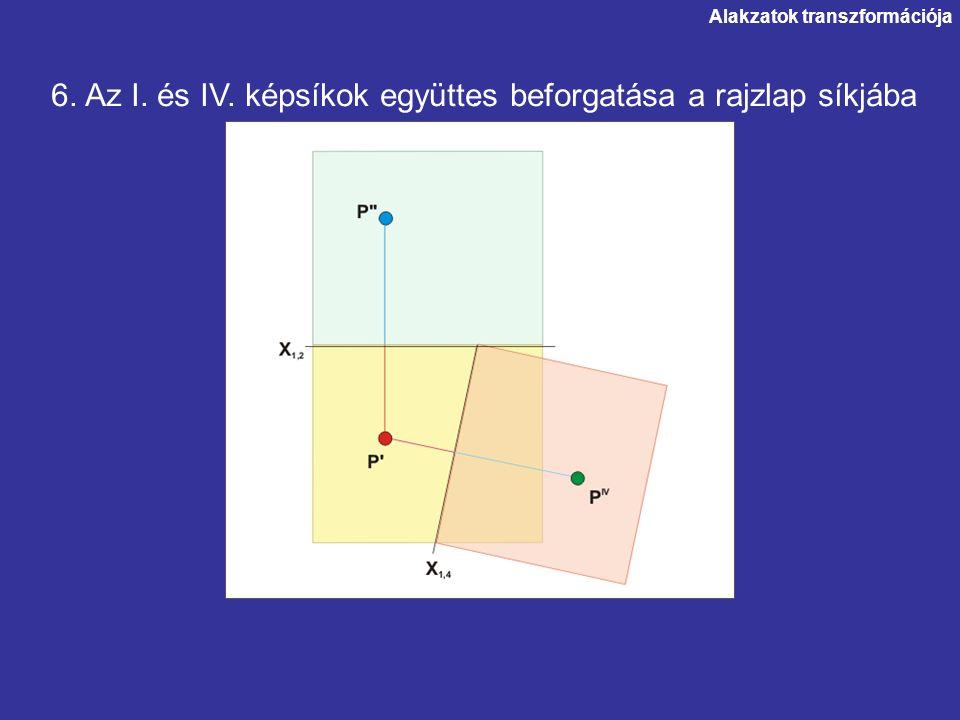 6. Az I. és IV. képsíkok együttes beforgatása a rajzlap síkjába