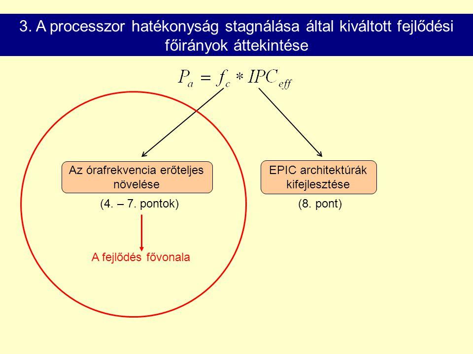 3. A processzor hatékonyság stagnálása által kiváltott fejlődési főirányok áttekintése