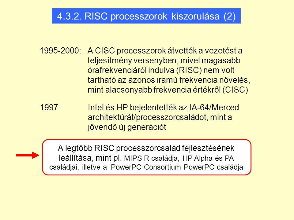 4.3.2. RISC processzorok kiszorulása (2)