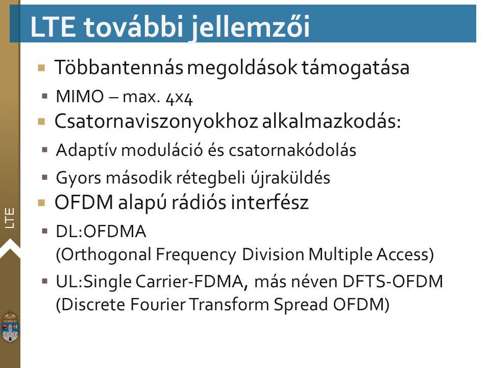 LTE további jellemzői Többantennás megoldások támogatása
