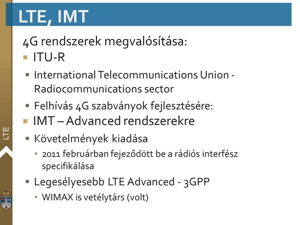LTE, IMT 4G rendszerek megvalósítása: ITU-R