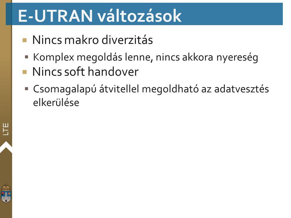 E-UTRAN változások Nincs makro diverzitás Nincs soft handover