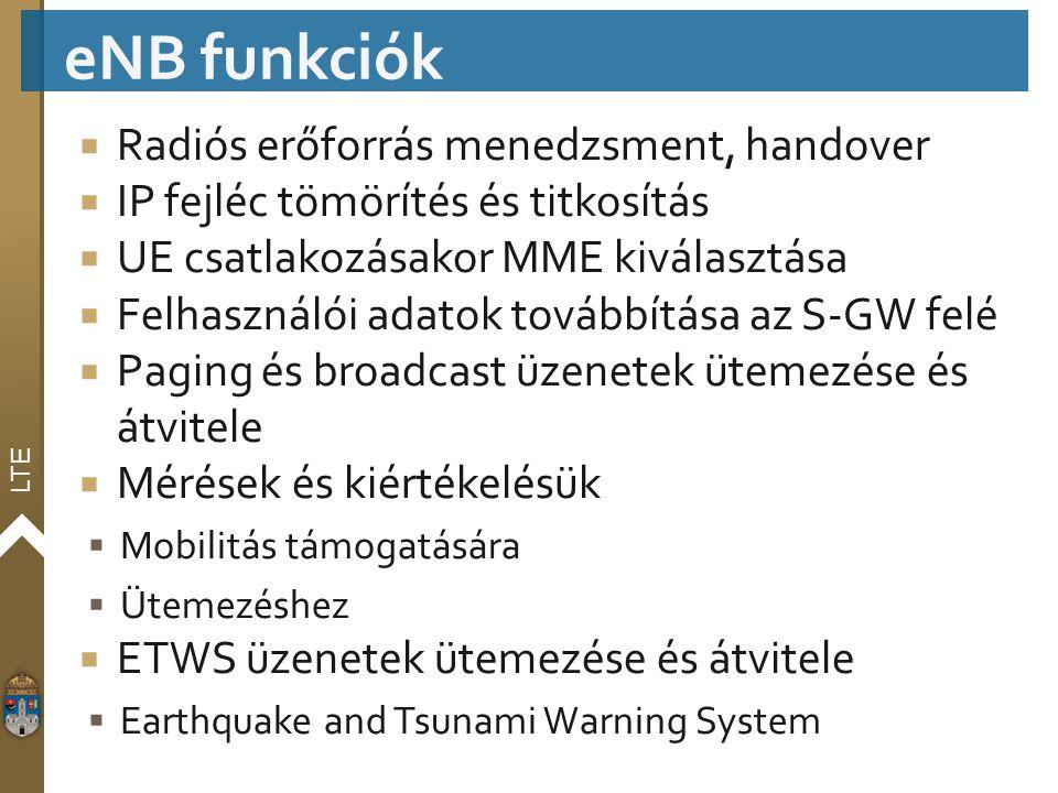 eNB funkciók Radiós erőforrás menedzsment, handover