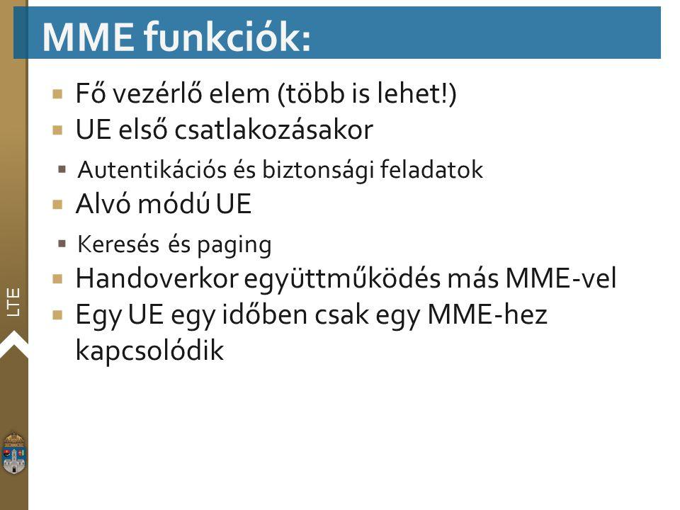 MME funkciók: Fő vezérlő elem (több is lehet!) UE első csatlakozásakor