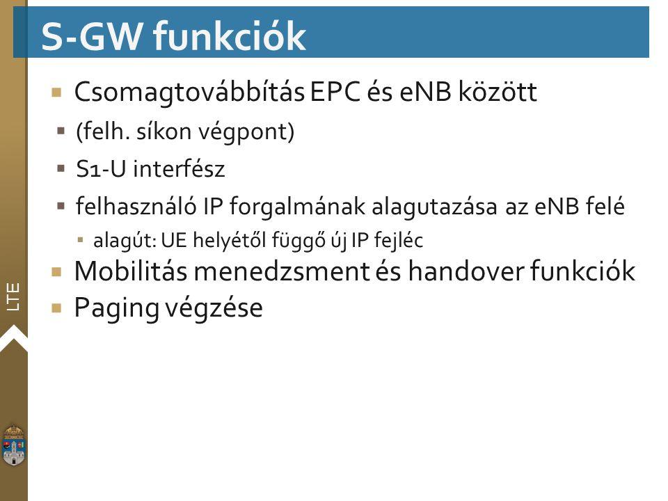 S-GW funkciók Csomagtovábbítás EPC és eNB között