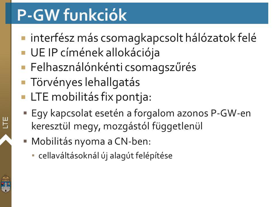 P-GW funkciók interfész más csomagkapcsolt hálózatok felé