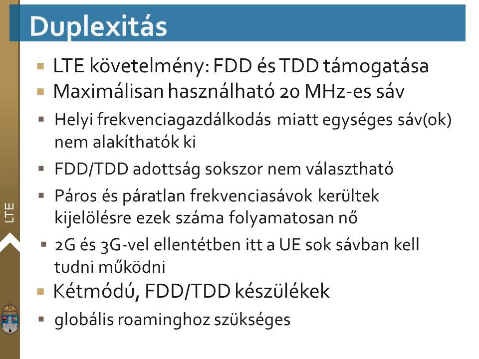 Duplexitás LTE követelmény: FDD és TDD támogatása