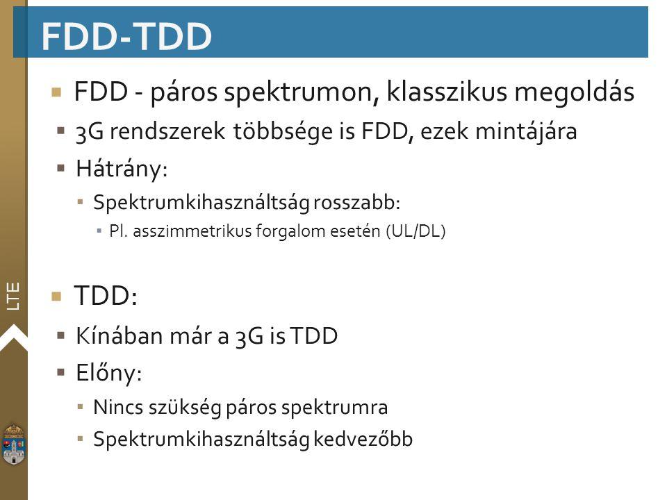 FDD-TDD FDD - páros spektrumon, klasszikus megoldás TDD: