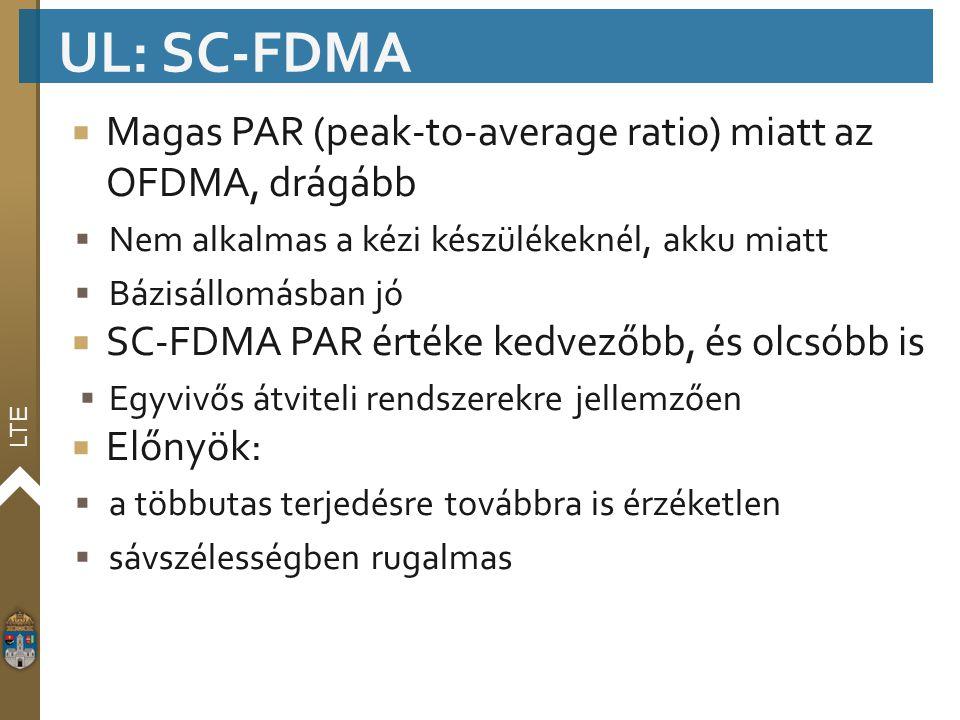 UL: SC-FDMA Magas PAR (peak-to-average ratio) miatt az OFDMA, drágább