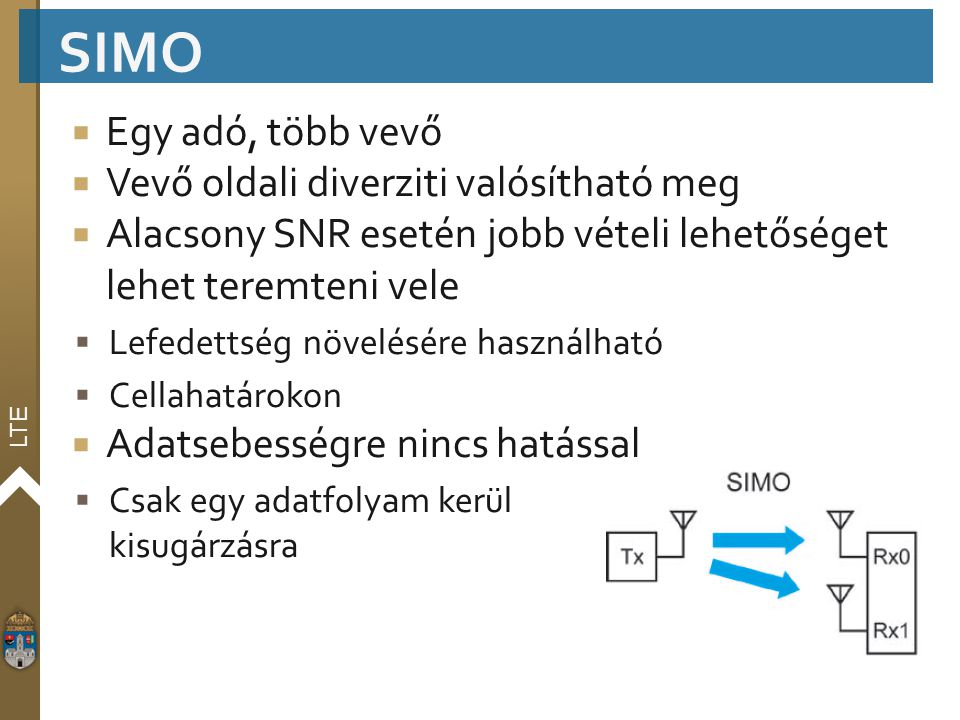 SIMO Egy adó, több vevő Vevő oldali diverziti valósítható meg