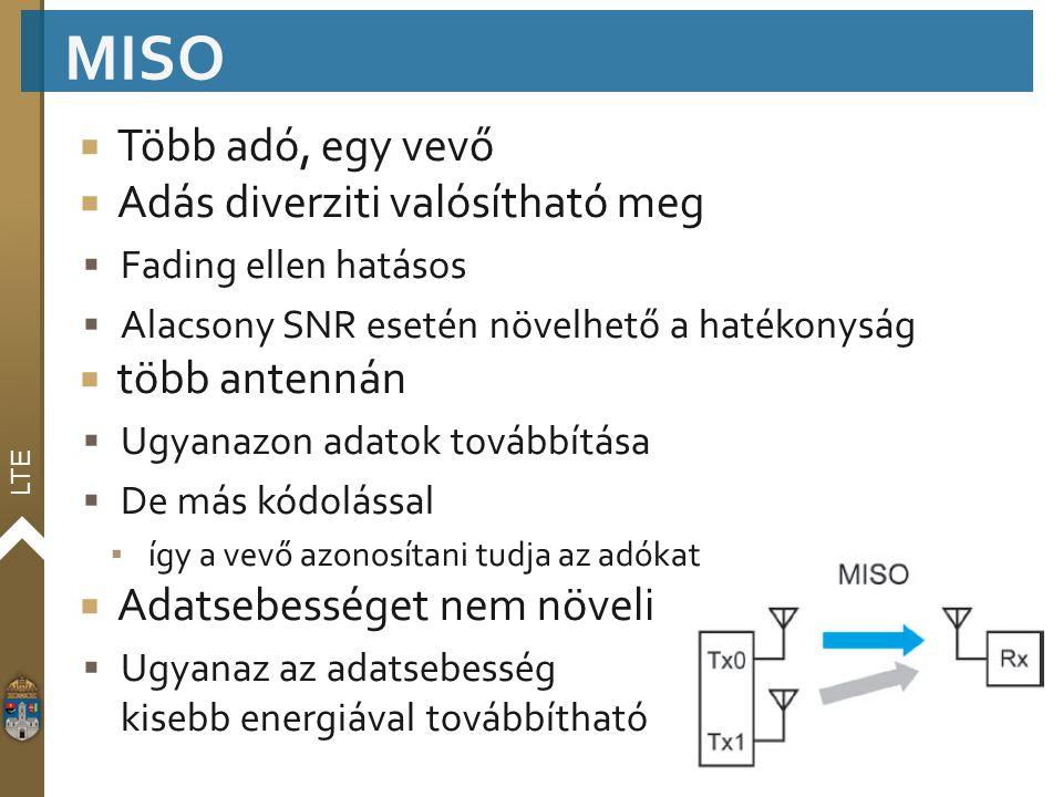 MISO Több adó, egy vevő Adás diverziti valósítható meg több antennán