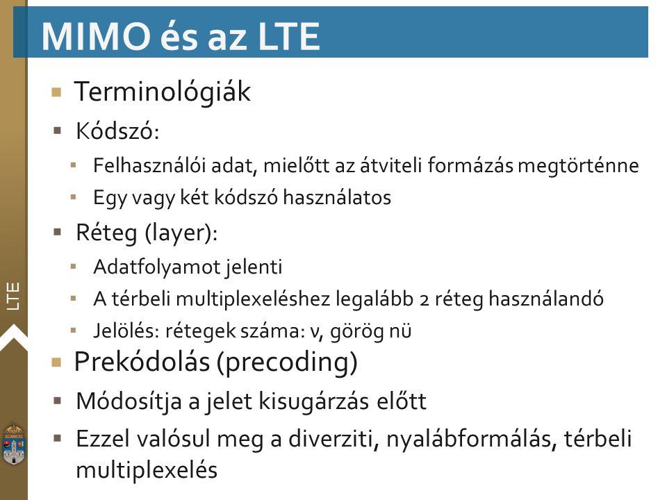 MIMO és az LTE Terminológiák Prekódolás (precoding) Kódszó: