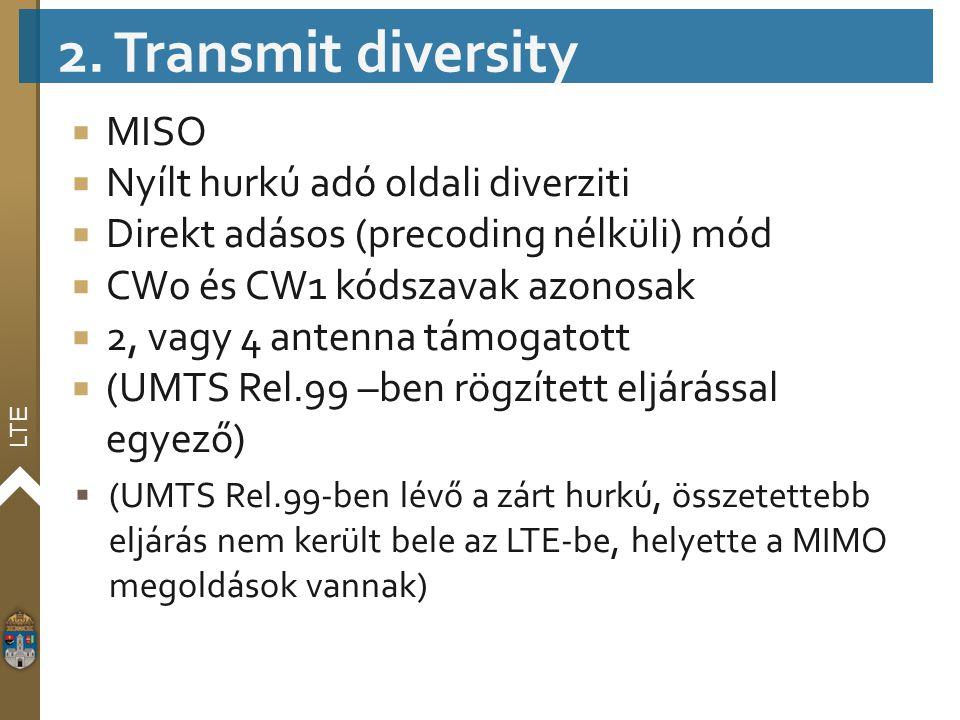 2. Transmit diversity MISO Nyílt hurkú adó oldali diverziti