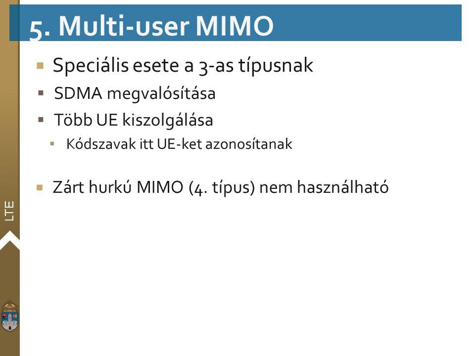 5. Multi-user MIMO Speciális esete a 3-as típusnak SDMA megvalósítása