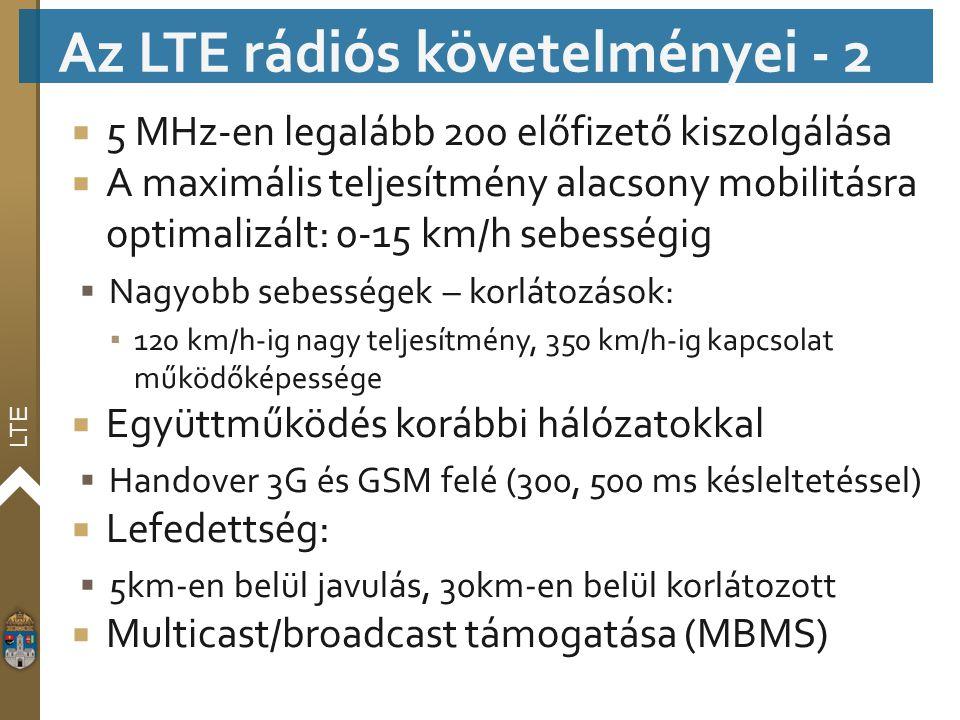 Az LTE rádiós követelményei - 2