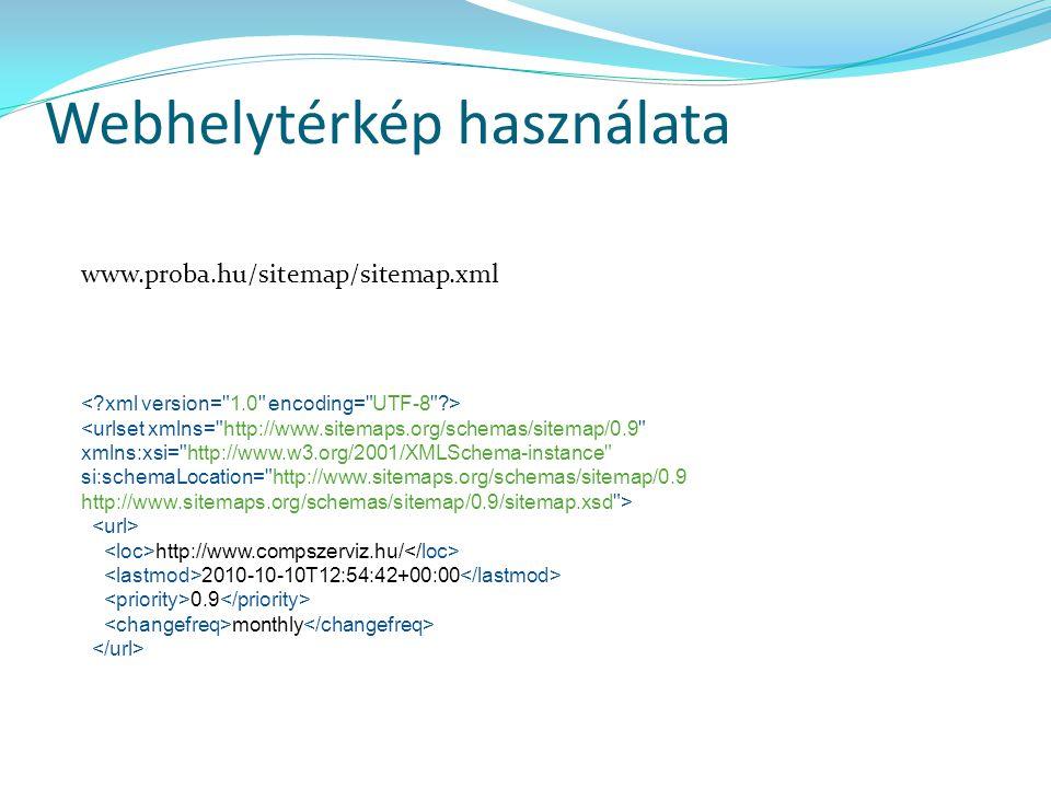 Webhelytérkép használata