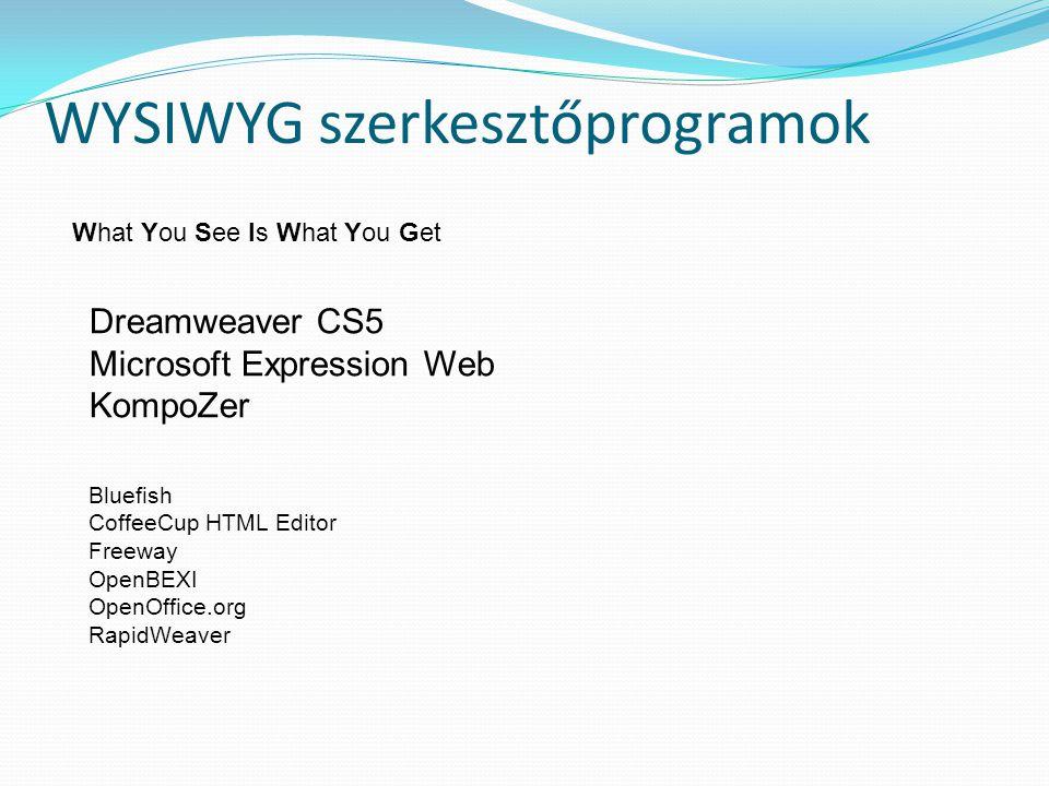 WYSIWYG szerkesztőprogramok