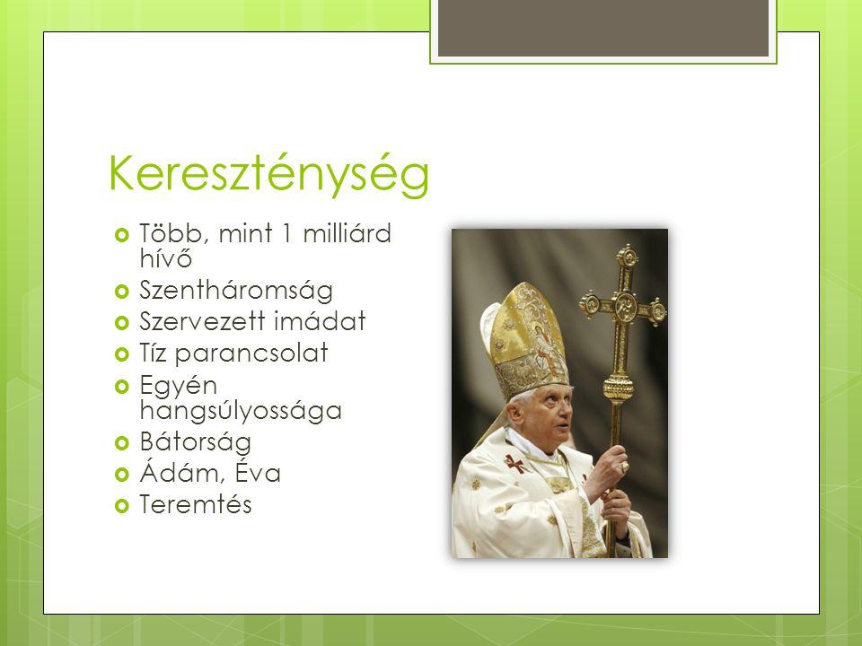 Kereszténység Több, mint 1 milliárd hívő Szentháromság