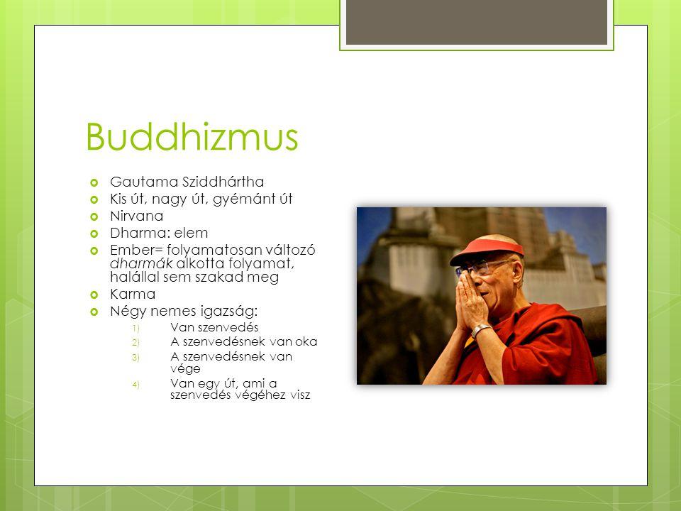 Buddhizmus Gautama Sziddhártha Kis út, nagy út, gyémánt út Nirvana
