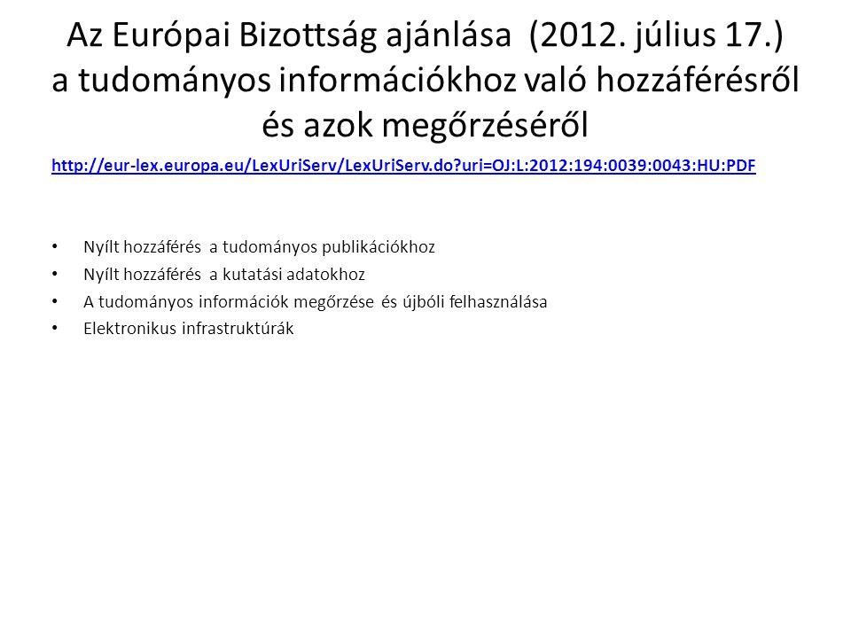 Az Európai Bizottság ajánlása (2012. július 17