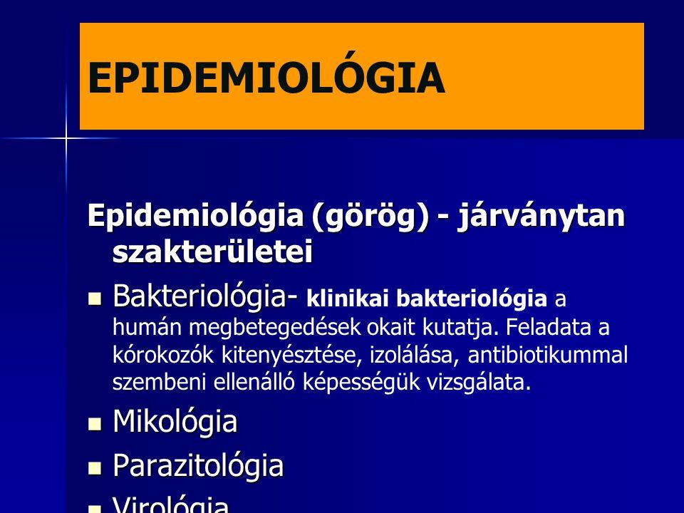 EPIDEMIOLÓGIA Epidemiológia (görög) - járványtan szakterületei