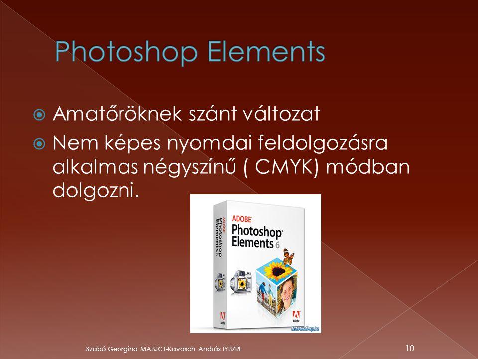 Photoshop Elements Amatőröknek szánt változat
