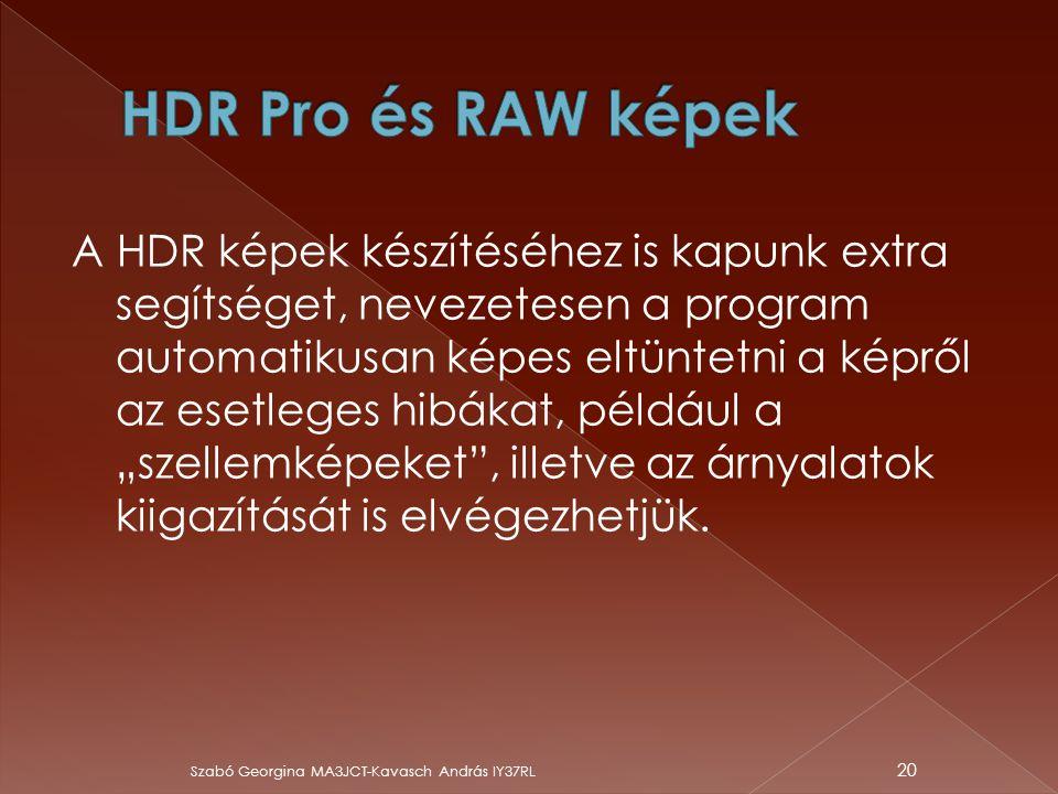 HDR Pro és RAW képek