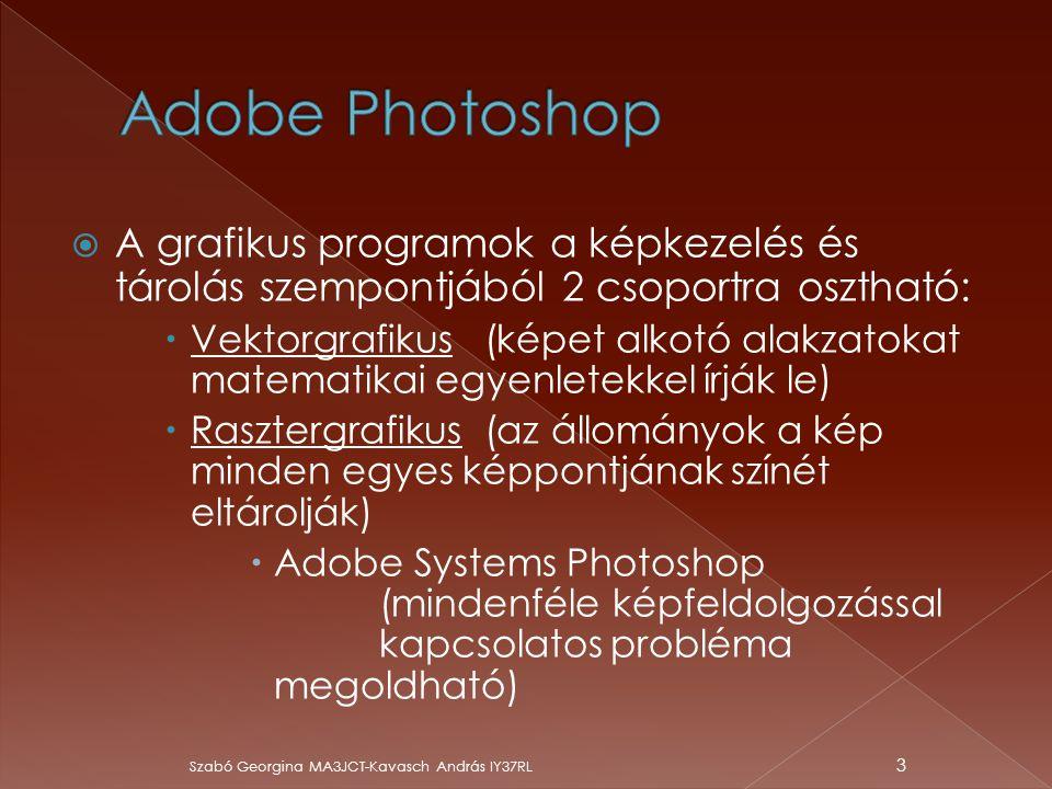 Adobe Photoshop A grafikus programok a képkezelés és tárolás szempontjából 2 csoportra osztható: