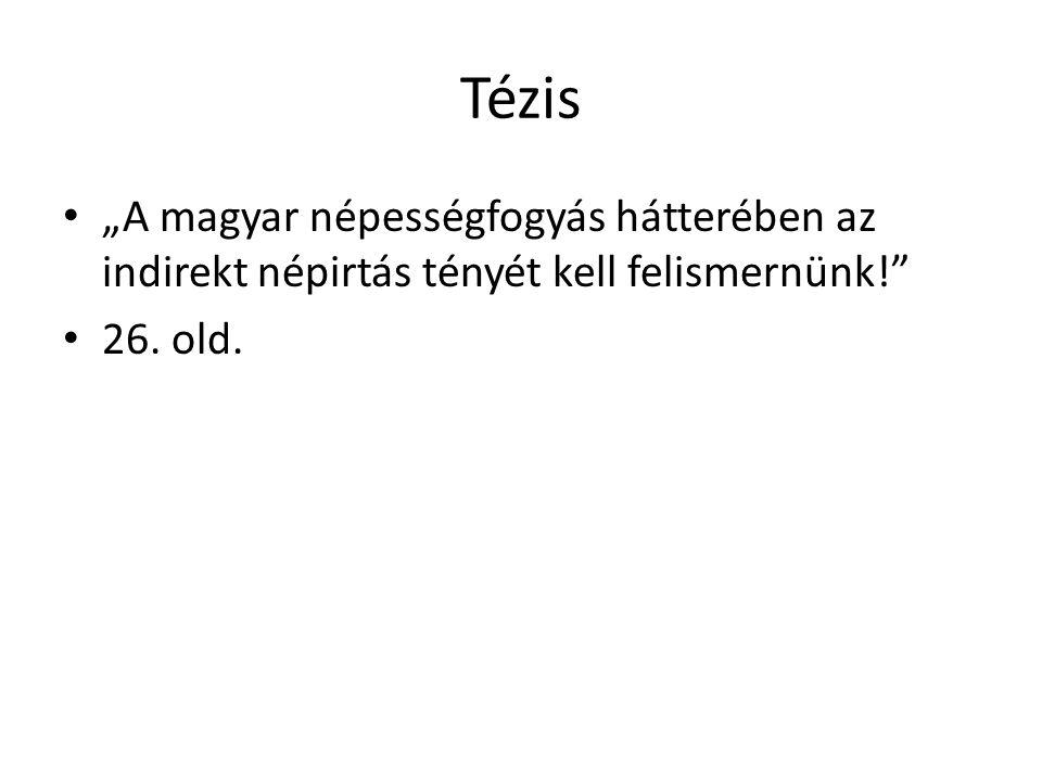 """Tézis """"A magyar népességfogyás hátterében az indirekt népirtás tényét kell felismernünk! 26. old."""