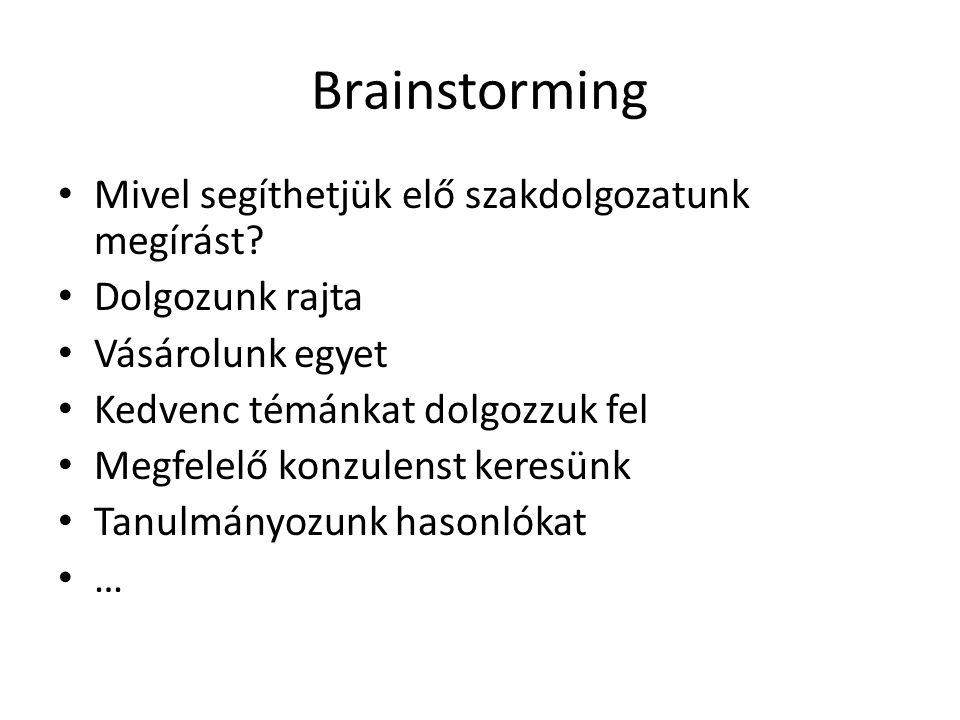 Brainstorming Mivel segíthetjük elő szakdolgozatunk megírást
